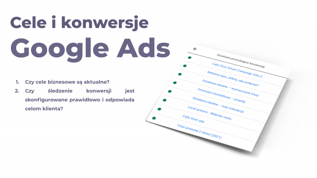 cele i konwersje google ads